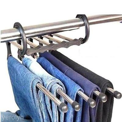 Saving Space Stainless Steel Trousers Jeans Pants Hanger 5 in 1 Magic Hook Rack