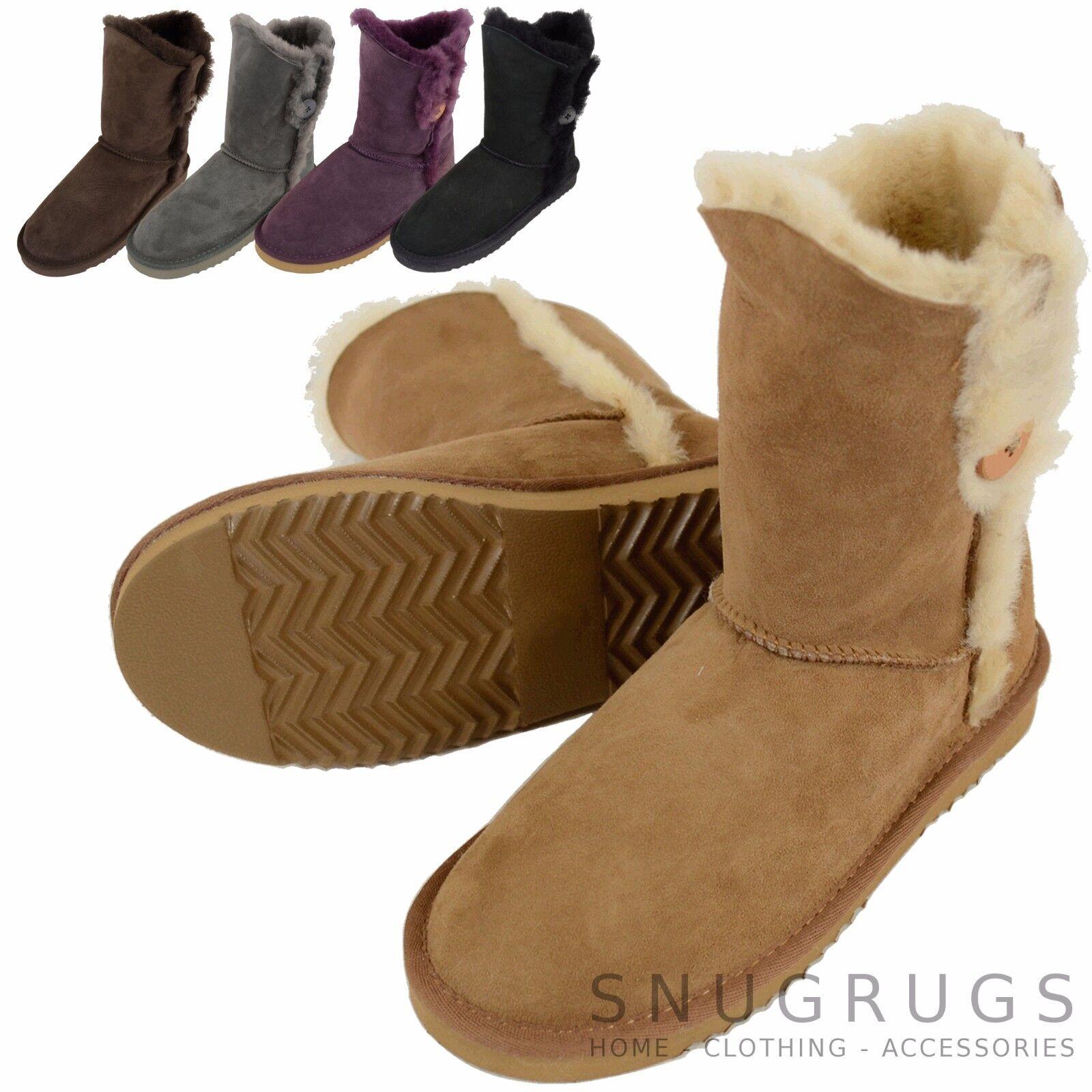 Ladies / Womens Full Sheepskin Calf Length Short Boot with Button Design