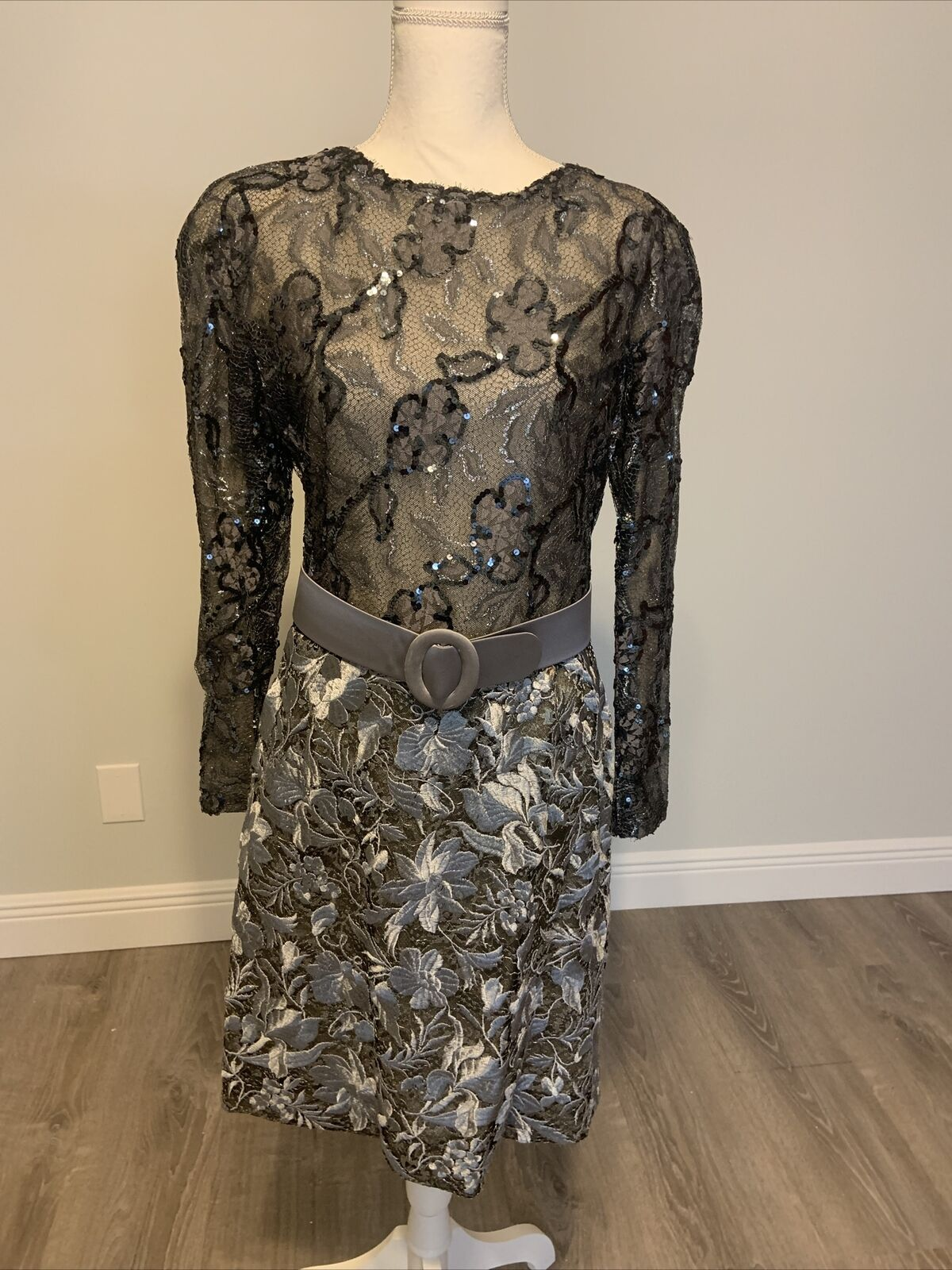 Arnold Scaasi Vintage Couture Silver Lace Dress w… - image 5