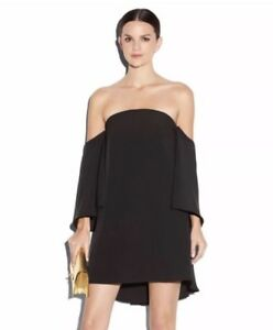 48a4960e214c9 Rare MILLY Mila Italian Cady Off Shoulder Flutter Sleeve Dress Black ...