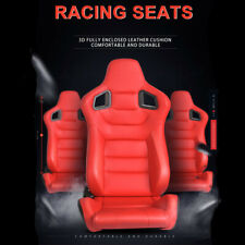 2x Racing Seat Red Pu Leather Recline Sport Bucket Seats With2 Sliders Universal Fits Toyota Celica