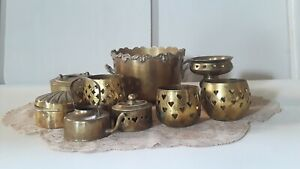Vintage-Brass-Lot-Trinkets-Candlestick-Holders-Boxes-Chests-Vase-11-pc
