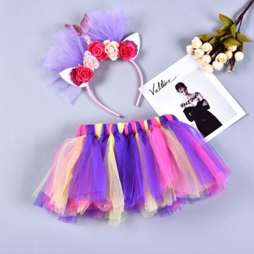 Girls Kids Tutu Party Ballet Dance Colours Costume Skirt+Floral Fishtail Set