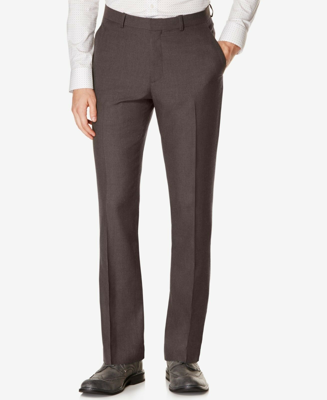 PERRY ELLIS PORTFOLIO men BROWN FLAT FRONT SLIM FIT DRESS PANTS 30 W 32 L