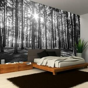 New black white woodland forest tree pattern giant photo for Black and white tree wallpaper mural