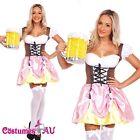 Ladies Beer Maid Costume Wench Oktoberfest Gretchen German Heidi Fancy Dress Up