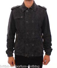 BNWT Aquascutum Grey Suede Leather Jacket Coat Ita48 / Uk38