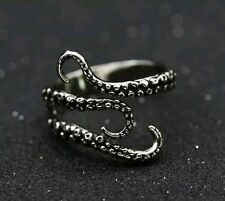 Adjustable Silver Cthulhu Tentacle Ring Octopus Squid Horror Goth Emo Punk UK