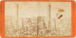 Italia-Bologna-Panorama-Foto-Stereo-Danneggiati-Vintage-Albumina-PL62L8