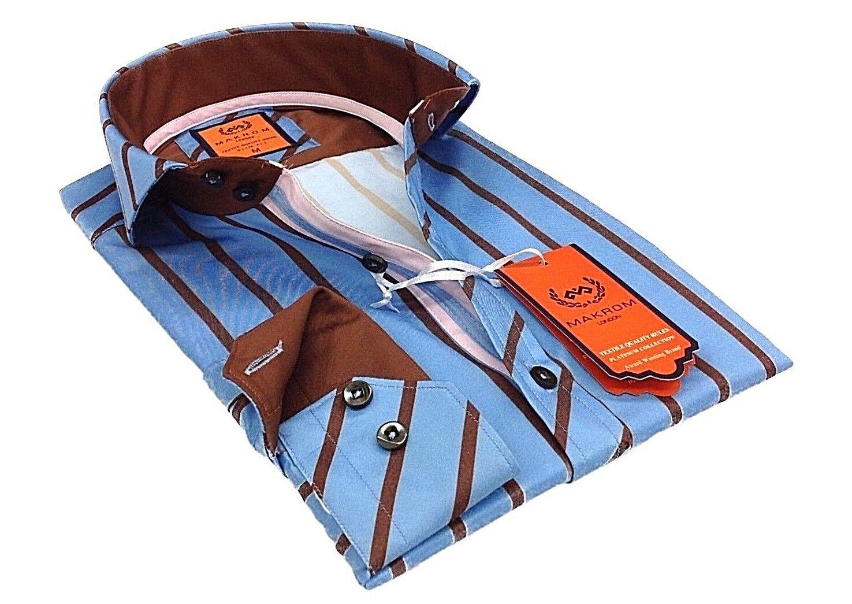 Men Makrom London Shirt Turkey Wrinkle Free Cotton Mix  5807-418 bluee Stripe