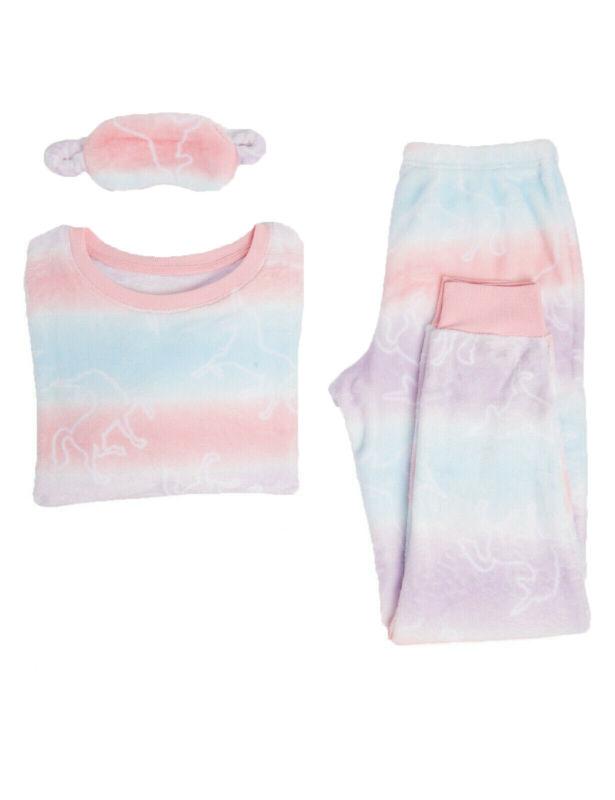 Ex Marks And Spencer Fleece Unicorn Long Sleeve Pyjama Set Size 12 - 14 (sf)