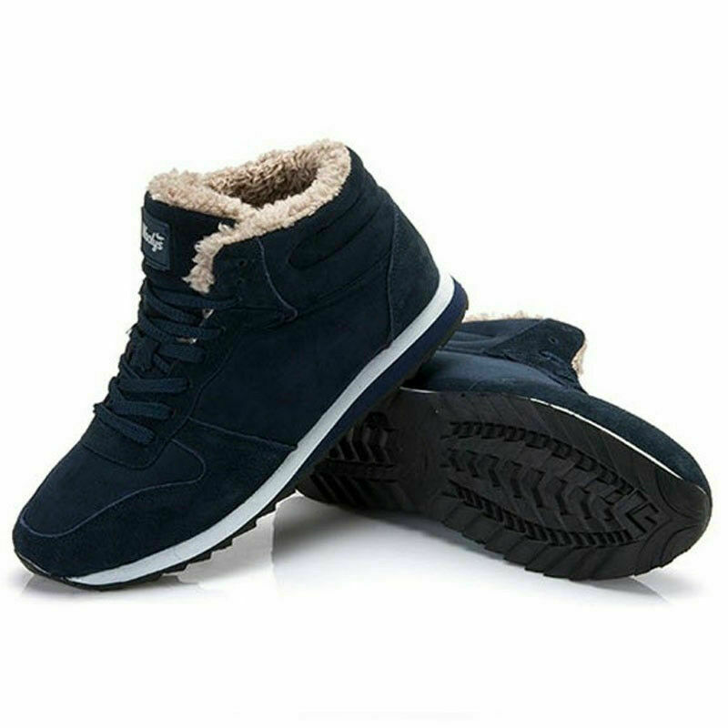 Mens Winter Ankle Snow Boots Suede Plush Lined Outdoor Shoes Warm Fur Sneakers