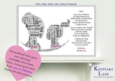 Personalised Daughter Mum Poem Mothers Day Birthday Christmas Gift Word Art