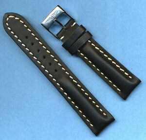 BREITLING-BUCKLE-amp-22mm-GENUINE-LEATHER-BLACK-MB-STRAP-WHITE-STITCHING-PADDED