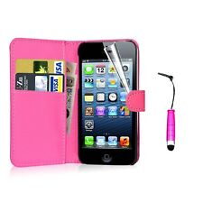 Flip Wallet Leather Card Slot Holder Stand Case Cover For iPhone Samsung +Stylus