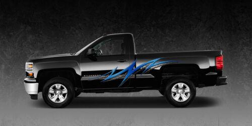 2 Car Truck Trailer Side Decals Graphics Stripes Vinyl #1130Blue