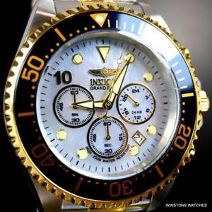 Invicta-Grand-Diver-Cronografo-Platino-Mop-Dos-Tonos-Acero-47mm-Reloj-Nuevo