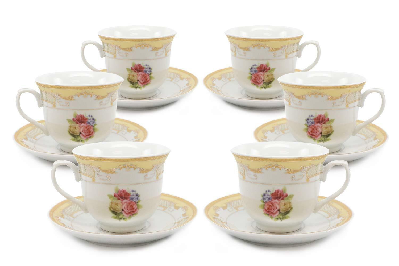 Royalty Porcelain 12-pc Tea Set  Pale Roses's, vintage imprimé fleuri Service Pour 6
