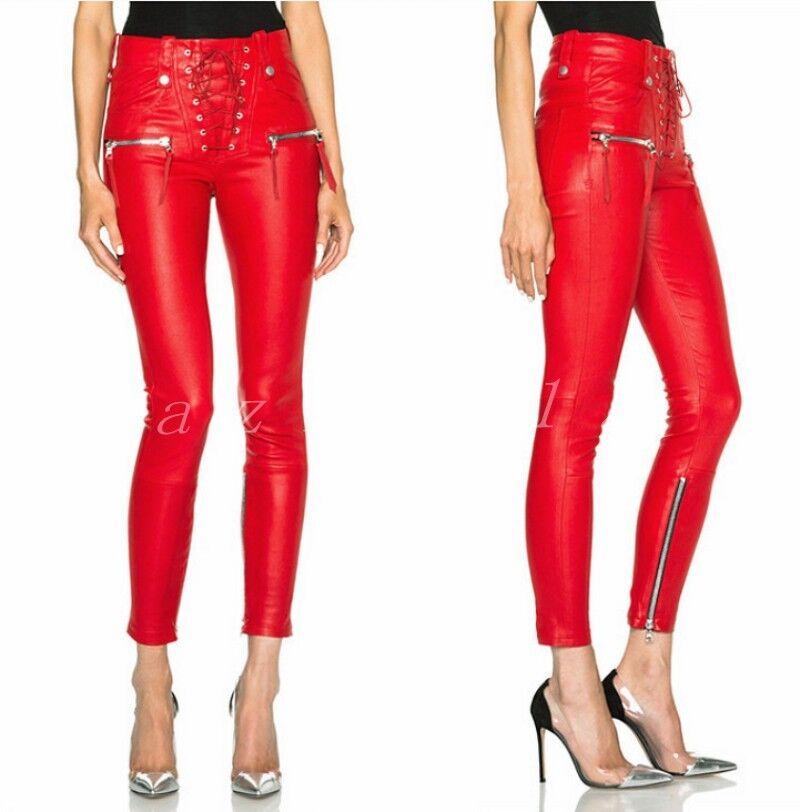 Hot Sale Women's Leather Slim Fit Zipper Pants Ladies Pencial Street Trousers