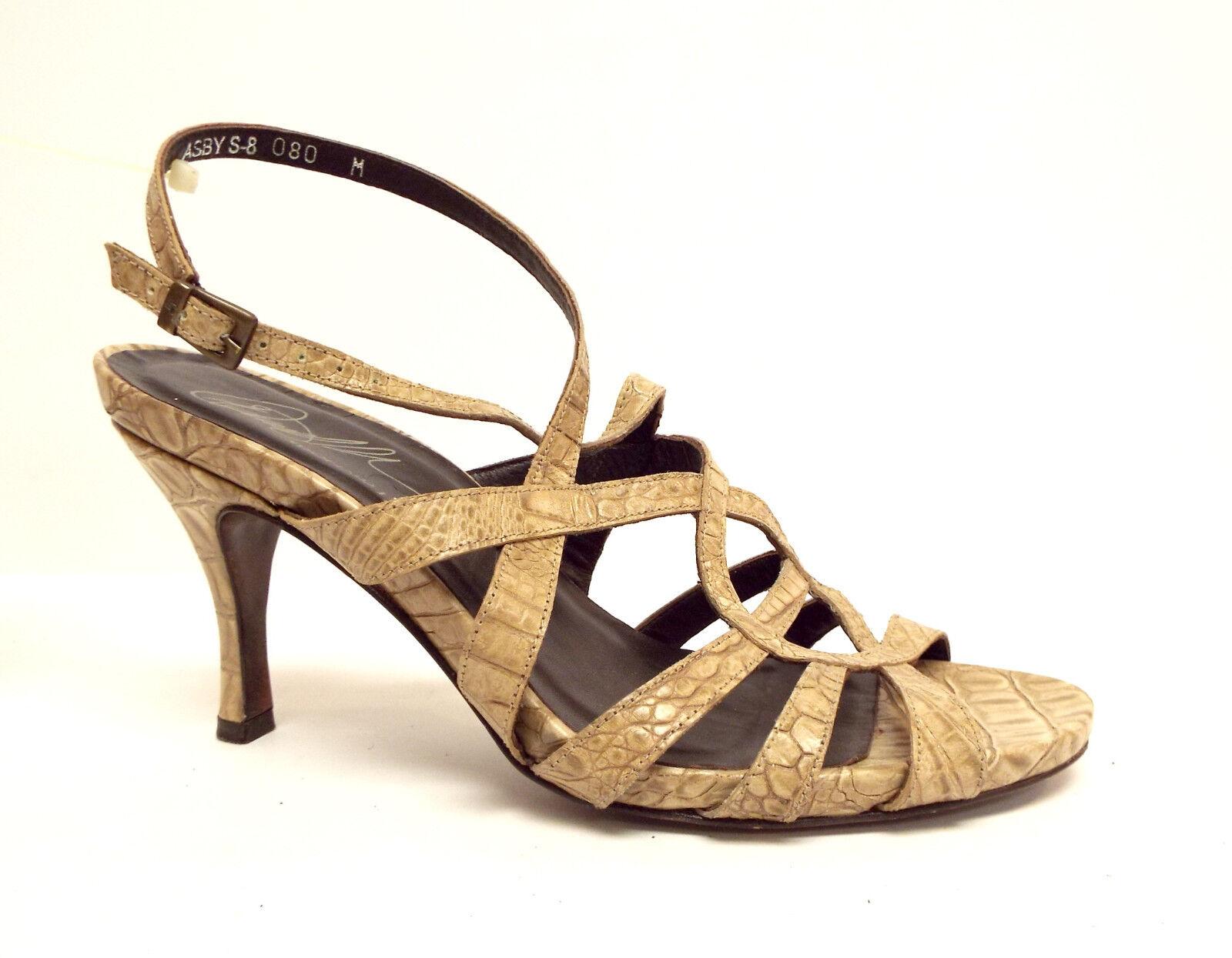 DONALD PLINER Croc Größe 8 ASBY Beige Croc PLINER Print Leder Sandales Heels Schuhes 902d93