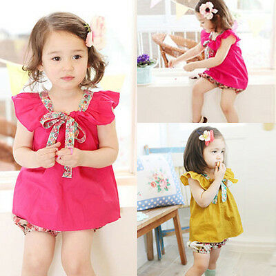 Girls T-Shirt Ruffles Short Sleeves With Floral Bow Casual Clothes For 2-8Y Kids