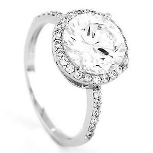 Silver-Halo-Style-Round-Cut-Cubic-Zirconia-Total-3-5-Ct-Engagement-Ring