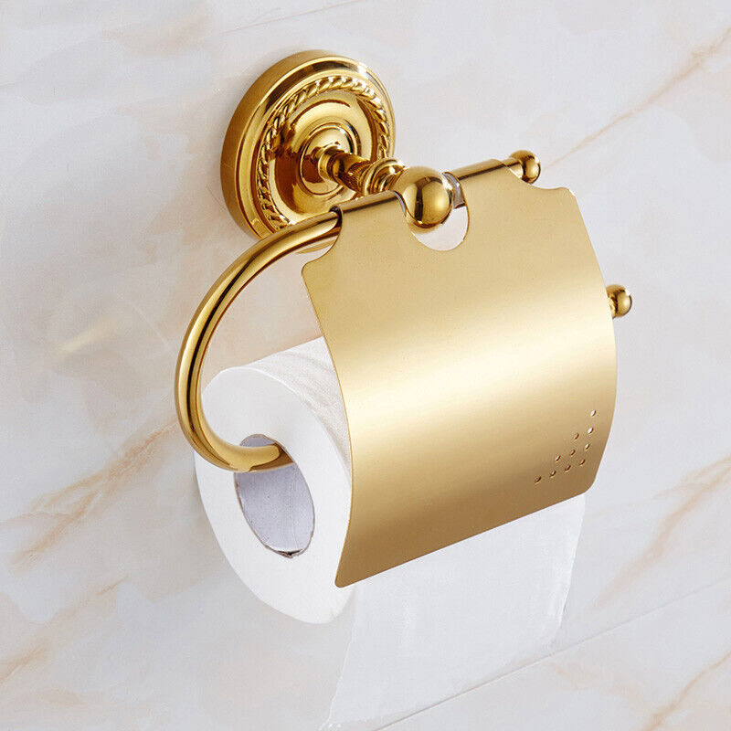 Luxury Gold Color Brass Roll Paper Rack Wall Mount Bathroom Toilet Tissue Holder