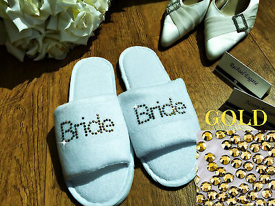 PERSONALISED SLIPPERS DIAMANTE WEDDING SPA GUEST SHOE TOWELLING SILVER LOWERCASE