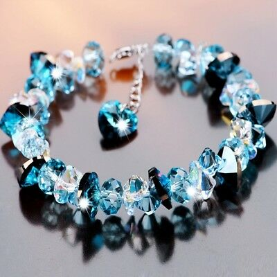 Systematic Women's S925 Silver Made With Swarovski Crystals Heart Of The Ocean Bracelet T18 Bright Luster Engagement & Wedding Fine Jewelry