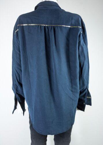 maniche metallici Maglietta taglia a media Nuovo bottoni donna lunghe M maniche blu lunghe a con da 889829874814 scuro wzRzq4xrHX