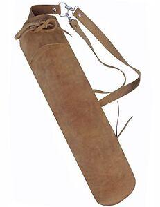 Fine en cuir synthétique Arrière Flèche Carquois Archery Products SAQ-110 Marron