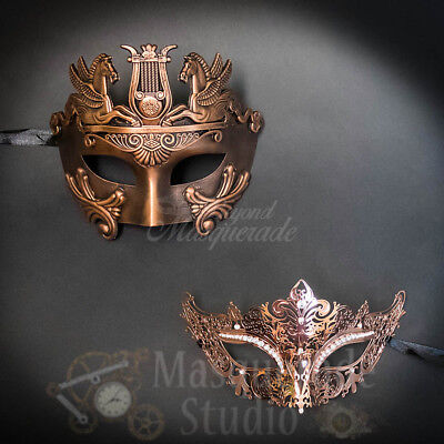 Couples Black Minimalist and Golden Peacock Costume Party Masquerade Masks Set