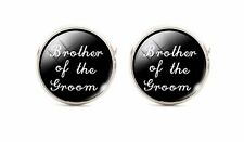 Brother Of The Groom Silver Plated Wedding Cufflinks Cuff links Round Black 925