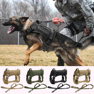 Large-Tactical-Dog-Harness-with-Bungee-Lead-No-Pull-Military-Training-Vest-K9