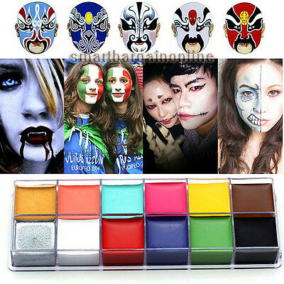 Face Body Paint Oil Painting Art Make Up Set Halloween Party Fancy Dress 12Color