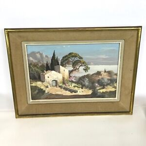 Framed-Gouache-on-Paper-Spanish-Portuguese-Mediterranean-Mountain-Ocean-Cottage