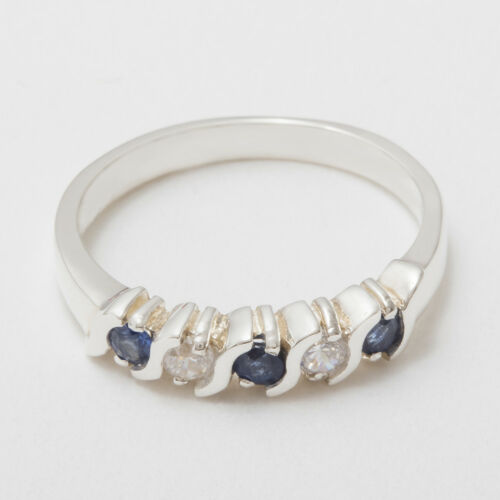 Details about  /925 Sterling Silver Natural Sapphire /& CZ Womens Eternity Ring Sizes J to Z