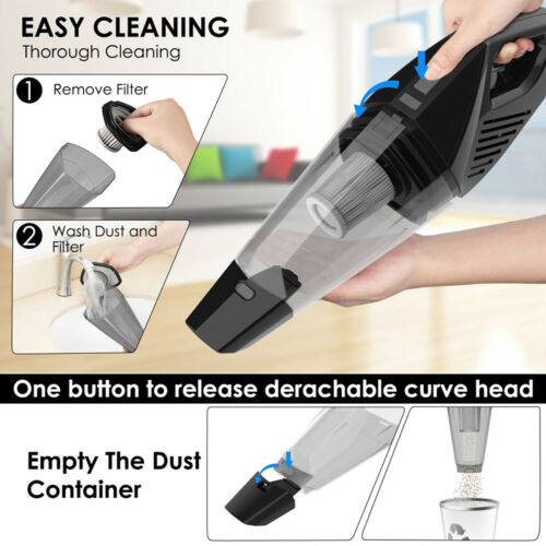7000PA Car Vacuum Cleaner Rechargeable Cordless Handheld Bagless Wet & Dry Vac