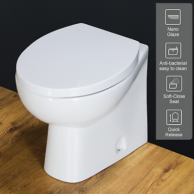 Toilet WC Back To Wall Bathroom Cloakroom White Ceramic Soft Close Seat B4N