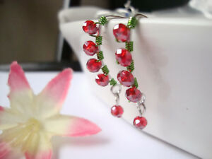 RED-GREEN-Crystal-Silver-Marquise-Dangle-Earrings-Artisan-Christmas-Holiday-2
