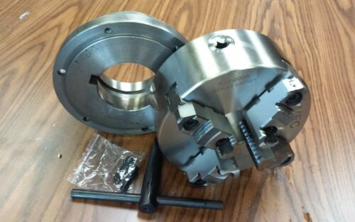 """L1 adapter plate-new 8/"""" 4-Jaw Self-Centering  Lathe Chuck top/&bottom jaws w"""