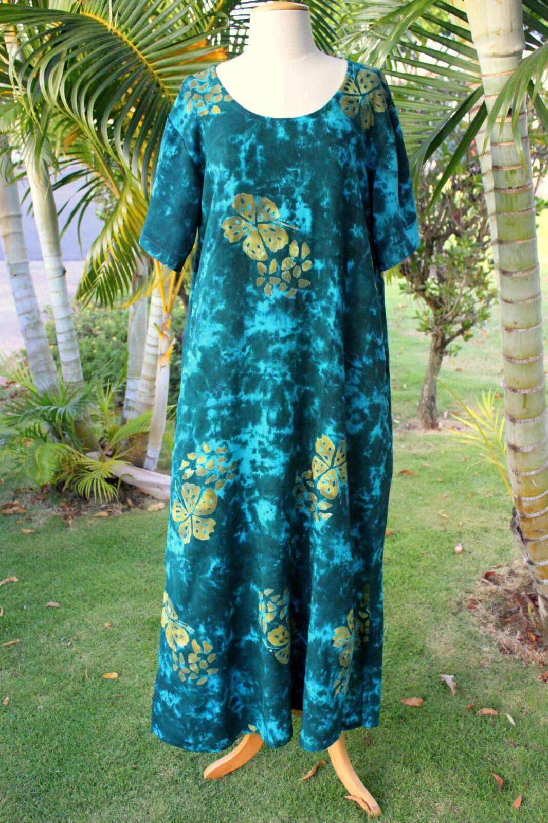 NWT PLUS SIZE SIZE SIZE Hawaiian Floral Short Sleeve Long Dress  GREEN HIBISCUS YF 712644