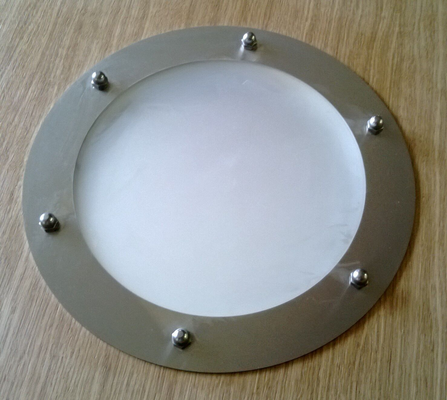 PORTHOLE FOR DOORS STAINLESS STEEL phi 323 mm flat WITHOUT GLASSES
