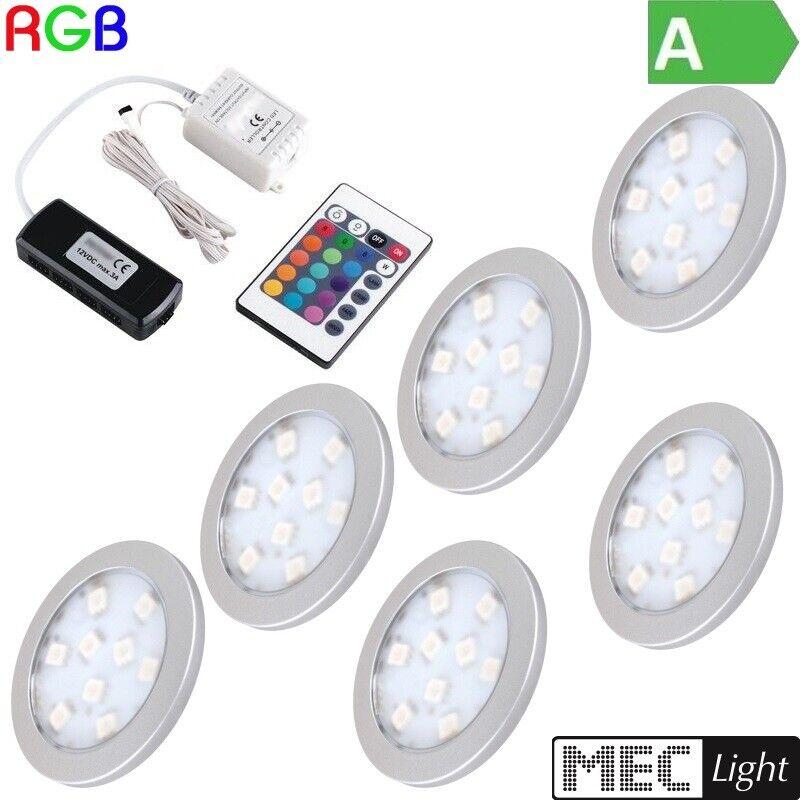 1-6 runde RGB-LED Möbelleuchte  ORBIT  + RGB-Controller + Fernbedienung + Trafo