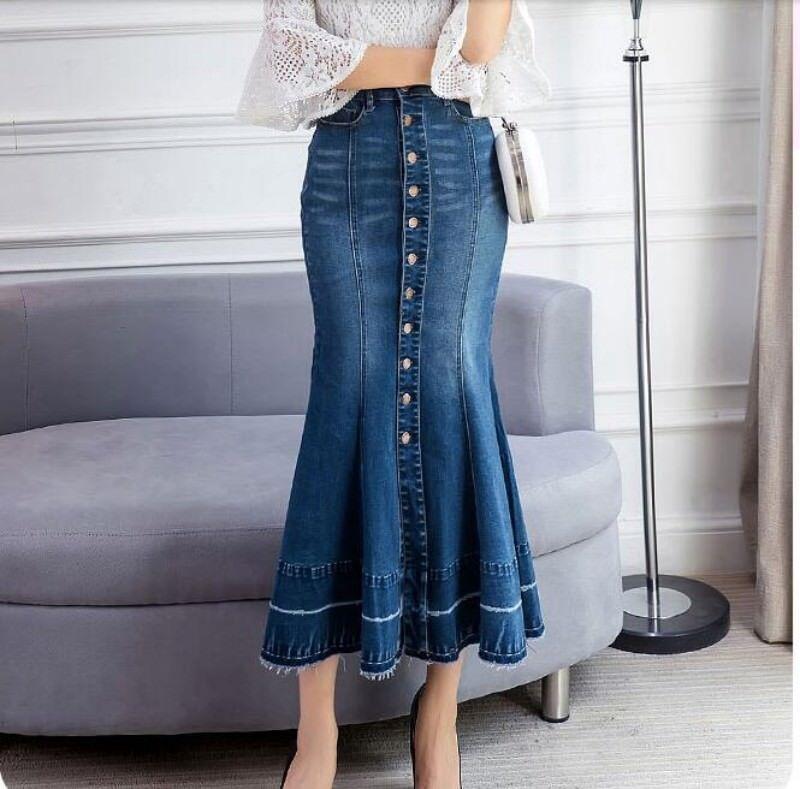 Sexy Women Denim Jean Skirt Fishtail Slim Fit Button Fashion Long High Waist New