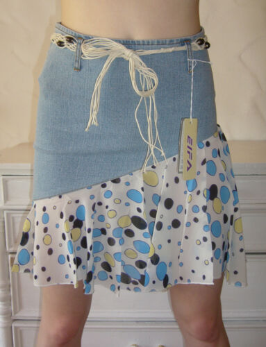Jeansrock Minirock Jeans Rock Mini Punkte Blau BLEACHED S M L XL 2x 3x XL XXL