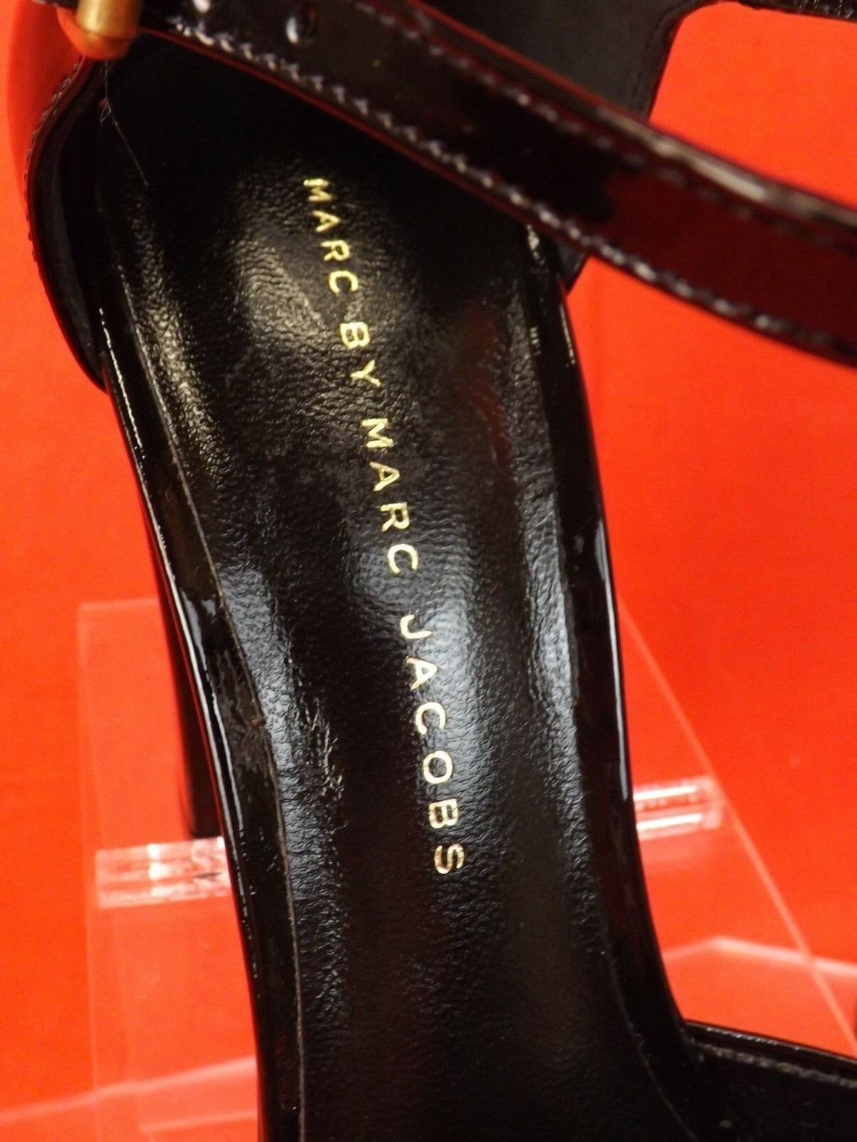 NIB MARC BY MARC JACOBS BLACK PATENT PATENT PATENT LEATHER BOW MARY JANE PUMPS 37.5 ITALY 114579