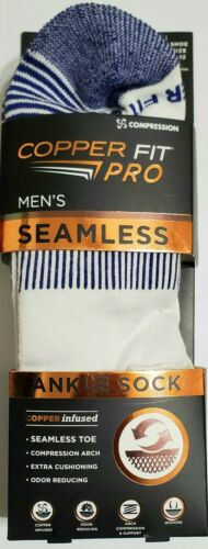 3 PAIRS COPPER FIT PRO MEN SEAMLESS COMPRESSION STRIPED ANKLE SOCKS SIZE 4-10