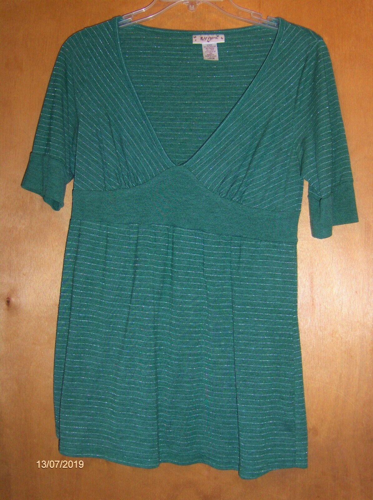 Ladies Self Esteem Green V-Neck Top      Size L 3