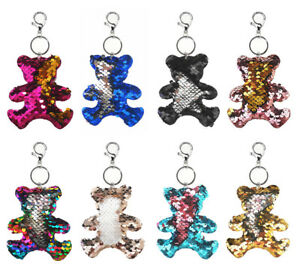 Wende Pailletten Taschenanhänger Schlüssel Anhänger Motiv Bär Viele Farben